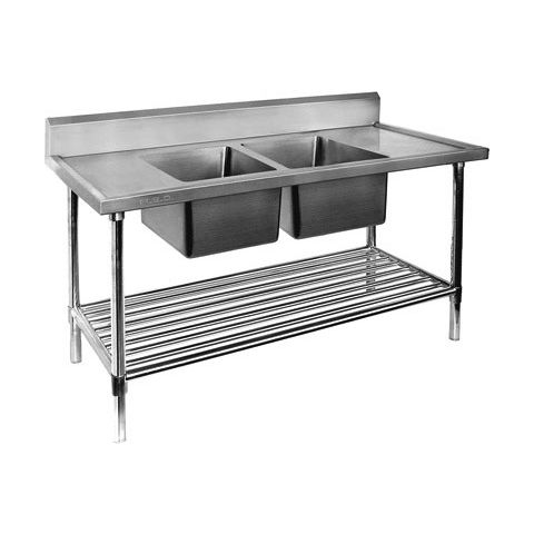 Stainless Bench With Double Sink 700mm x 1200mm centre bowls