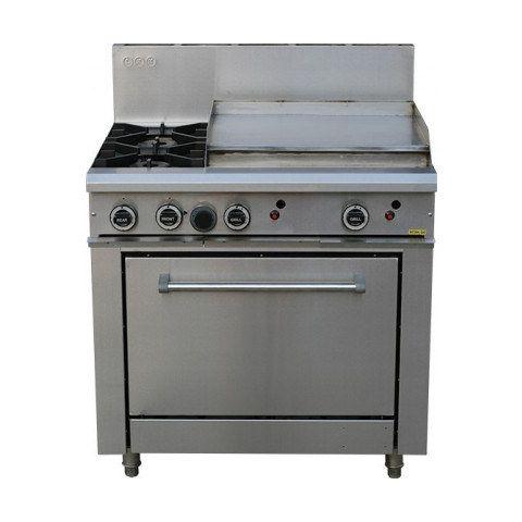 LKKOB6B+O 2 Gas Open Burner Cooktop + Gas Hot Plate + Static Oven