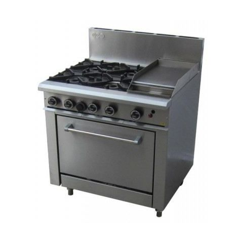 LKKOB6C+O 4 Gas Open Burner Cooktop + Gas Hot Plate + Static Oven