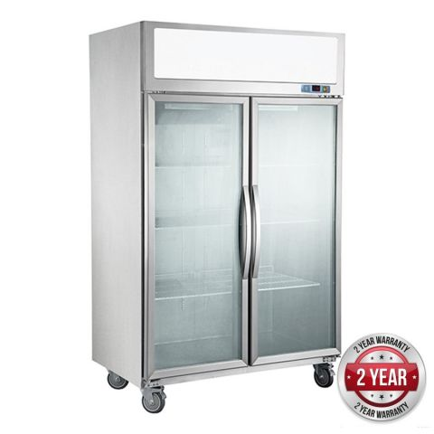 FED SUCG1200 2 Glass Door Fridge 1200 Litre - Stainless Steel