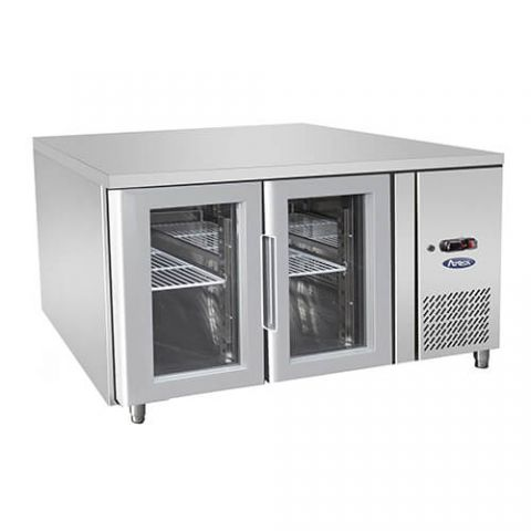 Atosa EPF3721 - 2 Glass Door Underbench Fridge, 1360 x 700