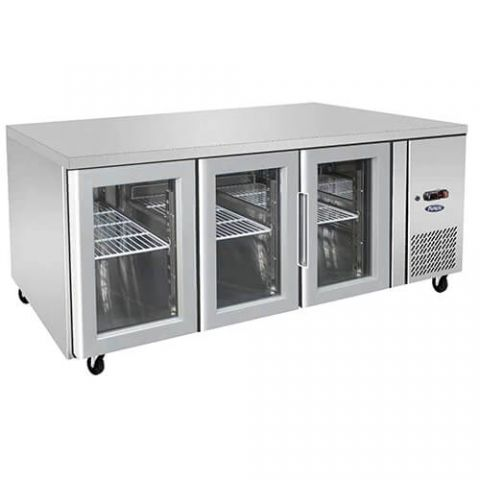 Atosa EPF3731 - 3 Glass Door Underbench Fridge, 1795 x 700