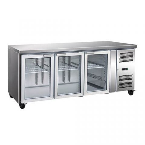FED GN2300TNG  Three Glass Door 464L Underbench Fridge - 1795mm