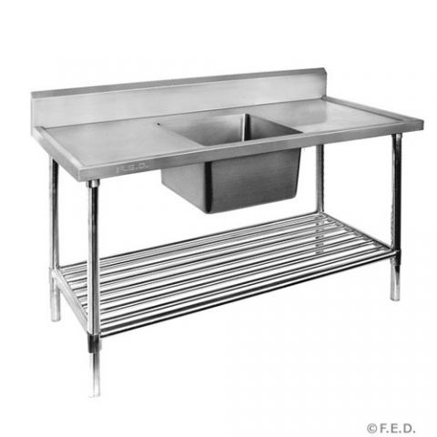 Stainless Bench With Single Sink 700mm x 1200mm left bowl