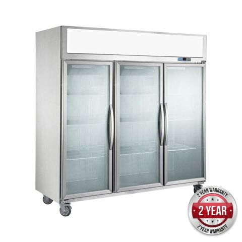 FED SUCG1500 3 Glass Door Fridge 1500 Litre - Stainless Steel